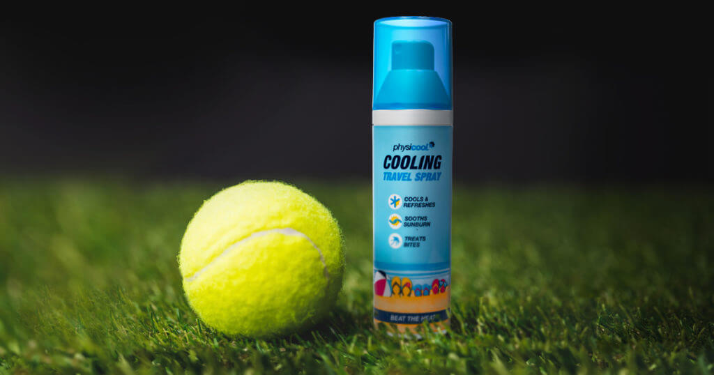 Physicool product shown next to a tennis ball