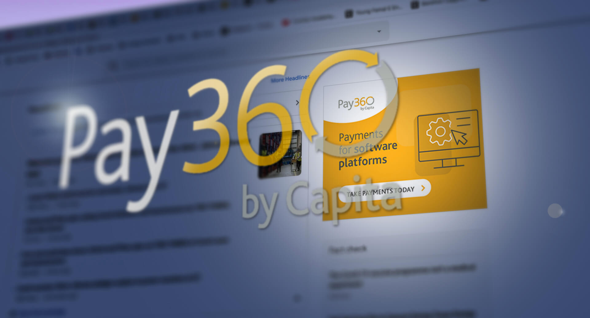 Pay360 logo with computer screen in background
